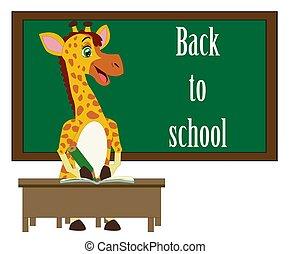 engraçado, escola, fundo, quadro-negro, costas, girafa, palavras