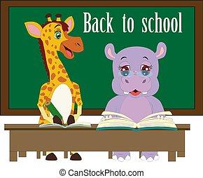 engraçado, escola, palavras, quadro-negro, costas, fundo, hipopótamo