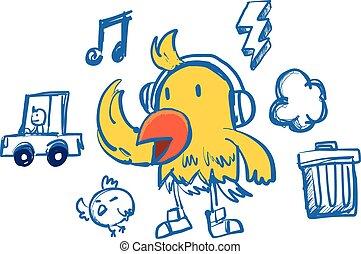 engraçado, estilo, hip-hop, pássaro amarelo