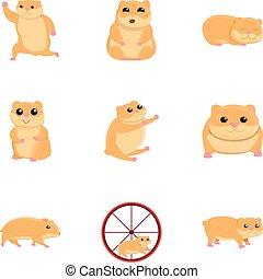 engraçado, estilo, jogo, hamster, caricatura, ícone