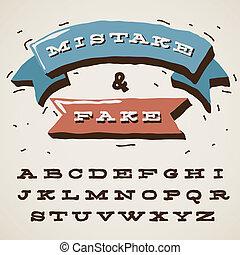 engraçado, estilo, letras, retro, alfabeto