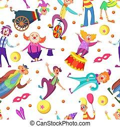 engraçado, estilo, padrão, seamless, saudação, palhaços, fundo, caricatura, cartões.