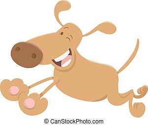 engraçado, executando, cão, caricatura