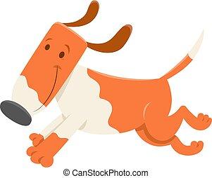 engraçado, executando, personagem, cão, caricatura
