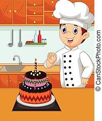 engraçado, feito, dela, ca, cozinheiro, caricatura