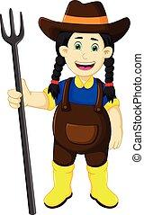 engraçado, femininas, ancinho, segurando, agricultor, caricatura