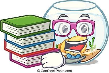 engraçado, fishbowl, livro, caricatura, estudante