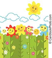engraçado, flores, borda, seamless, coloridos
