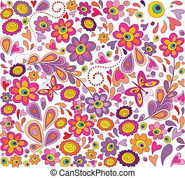 engraçado, flores, papel parede