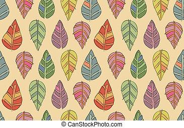 engraçado, folha, seamless, textura, outono, vetorial