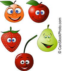 engraçado, fruta, ilustração