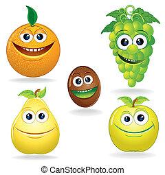 engraçado, frutas, c