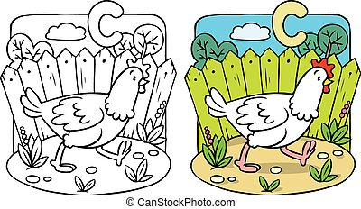 engraçado, galinha, coloração, book., alfabeto, c