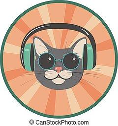 engraçado, gato, em, um, estilo retro