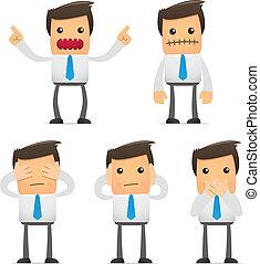 engraçado, gerente, jogo, caricatura