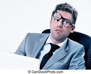 engraçado, gerente, trabalho, cansado