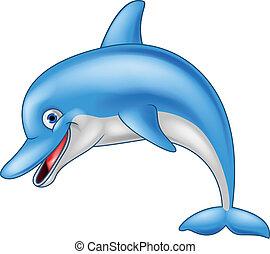 engraçado, golfinho, caricatura