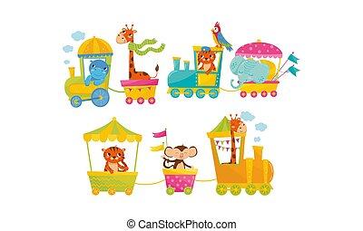 engraçado, grupo, montando, trem, caricatura, animais, vetorial, ilustração