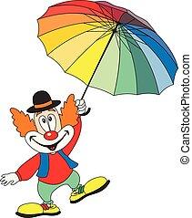 engraçado, guarda-chuva, segurando, palhaço, caricatura