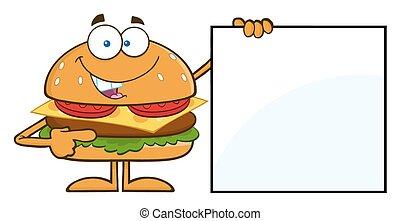 engraçado, hamburger, apontar, em branco