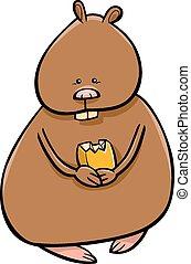 engraçado, hamster, ilustração, caricatura