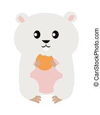 engraçado, hamster, ilustração