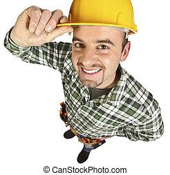 engraçado, handyman, feliz