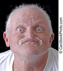 engraçado, homem, antigas, rosto