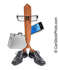 engraçado, homem negócios, saliência, laço, personagem,...