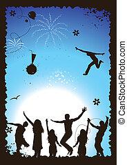 engraçado, ilustração, feriado, vetorial, desenho, seu, partido