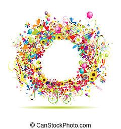 engraçado, inserção, quadro fotografia, aqui, feriado, seu, feliz