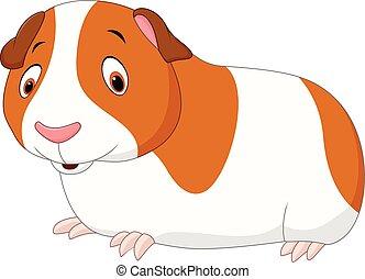 engraçado, isolado, hamster, fundo, branca, caricatura