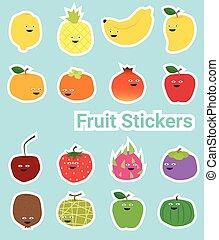 engraçado, jogo, adesivos, fruta