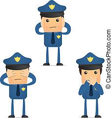 engraçado, jogo, caricatura, policial