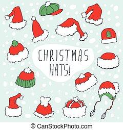 ENGRAÇADO, jogo, chapéu, Natal