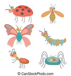 engraçado, jogo, coloridos, bugs, ilustração, vetorial