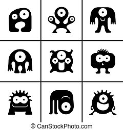 engraçado, jogo, monstro, ícones