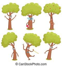 engraçado, jogo, mostrando, árvore, emoções, vário, caráteres, cômico
