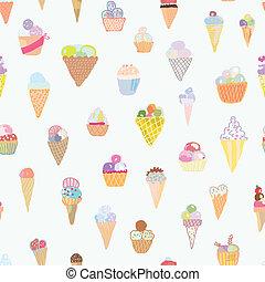 engraçado, jogo, padrão, -, seamless, gelo, mão, desenho, desenhado, creme