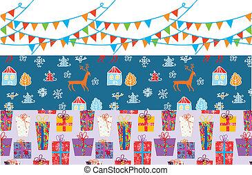 engraçado, jogo, padrões, desenho, bandeira, natal