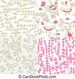 engraçado, jogo, seamless, padrões, desenho, floral, pássaros