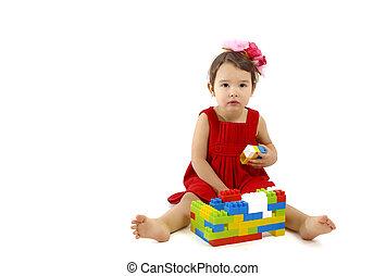 ENGRAÇADO, jogo, sobre, tocando, construção, fundo, criança, branca, menina