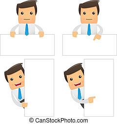 engraçado, jogo, trabalhador, caricatura, escritório
