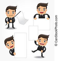 engraçado, jogo, trabalhador escritório, caricatura, ícone