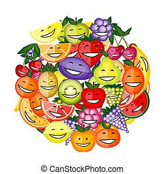 engraçado, junto, fruta, desenho, caráteres, sorrindo, seu