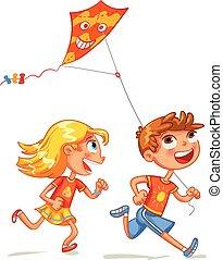 engraçado, kite., voando, personagem, caricatura, crianças
