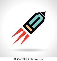 engraçado, lápis, ícone