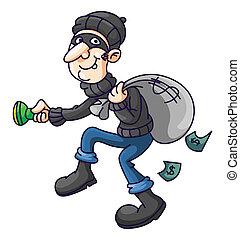 engraçado, ladrão, caricatura