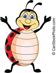 engraçado, ladybug, caricatura