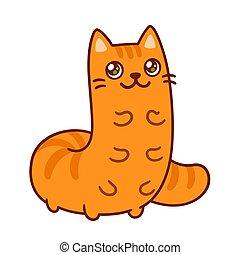 engraçado, lagarta, caricatura, gato